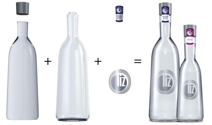 Konstruktion einer Glasflasche mit Inhalt und Etiketten für diverse Werbemaßnahmen